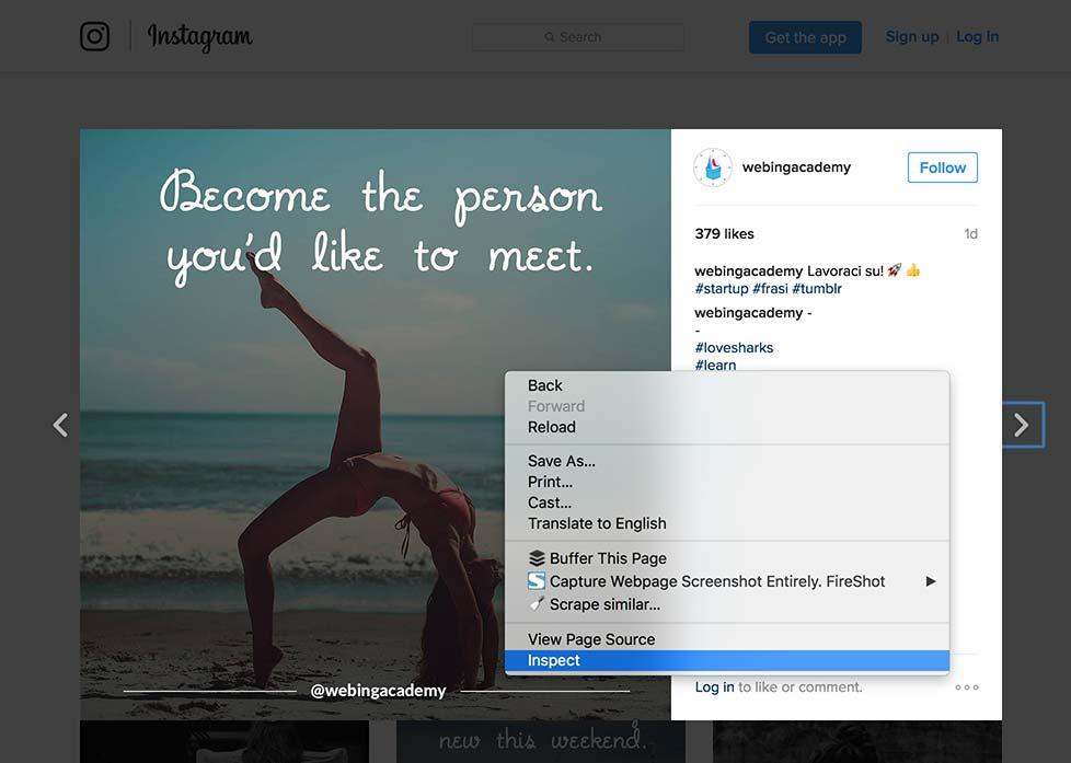 vedere foto instagram grandi da pc