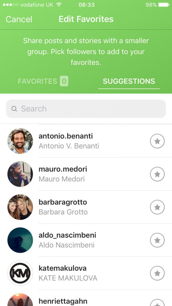 come usare i favorites di instagram