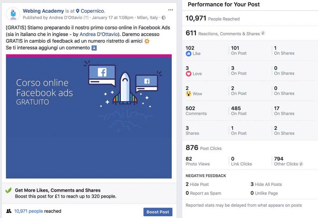 aumentare portata organica post facebook
